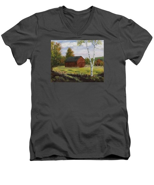 Barn With Lone Birch Men's V-Neck T-Shirt by Alan Mager