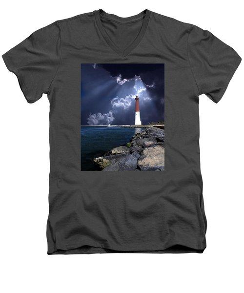 Barnegat Inlet Lighthouse Nj Men's V-Neck T-Shirt by Skip Willits