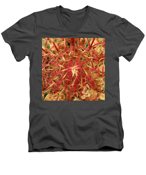 Men's V-Neck T-Shirt featuring the photograph Barrel Cactus by Laurel Powell