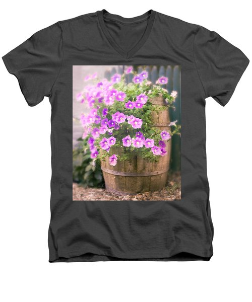 Men's V-Neck T-Shirt featuring the photograph Barrel Of Flowers - Floral Arrangements by Gary Heller