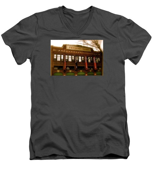 Baseballs Classic  V Bostons Fenway Park Men's V-Neck T-Shirt by Iconic Images Art Gallery David Pucciarelli