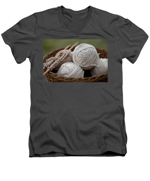 Basket Of Yarn Men's V-Neck T-Shirt by Wilma  Birdwell