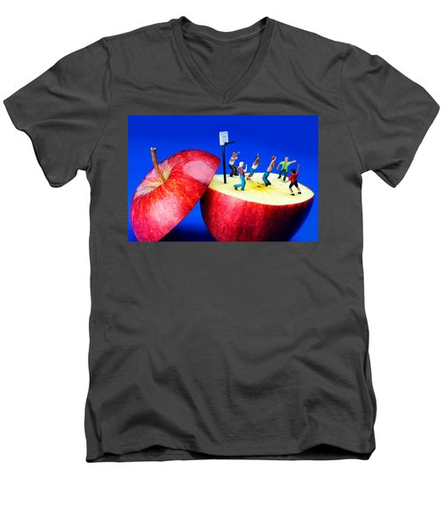 Basketball Games On The Apple Little People On Food Men's V-Neck T-Shirt