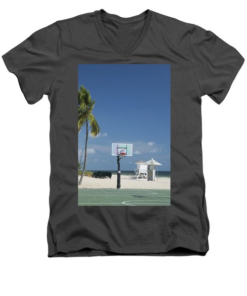 Basketball Goal On The Beach Men's V-Neck T-Shirt