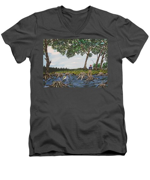 Bass Fishing In The Stumps Men's V-Neck T-Shirt by Jeffrey Koss