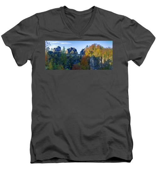 Bastei Bridge In The Elbe Sandstone Mountains Men's V-Neck T-Shirt