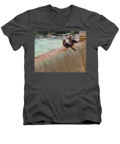Men's V-Neck T-Shirt featuring the photograph Bath Time At The Adolphus by Robert ONeil