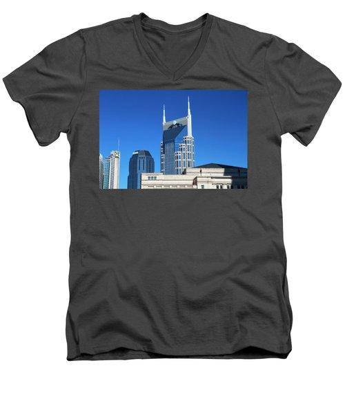 Batman Building And Nashville Skyline Men's V-Neck T-Shirt by Dan Sproul