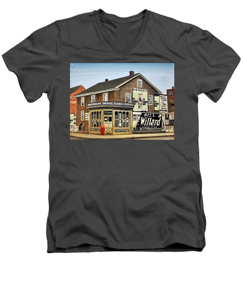 Men's V-Neck T-Shirt featuring the painting Bay And Adelaide Streets 1910 by Kenneth M  Kirsch
