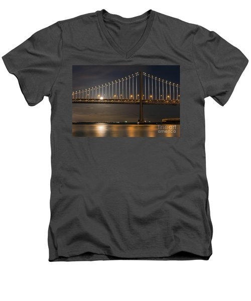 Bay Bridge Moon Rising Men's V-Neck T-Shirt