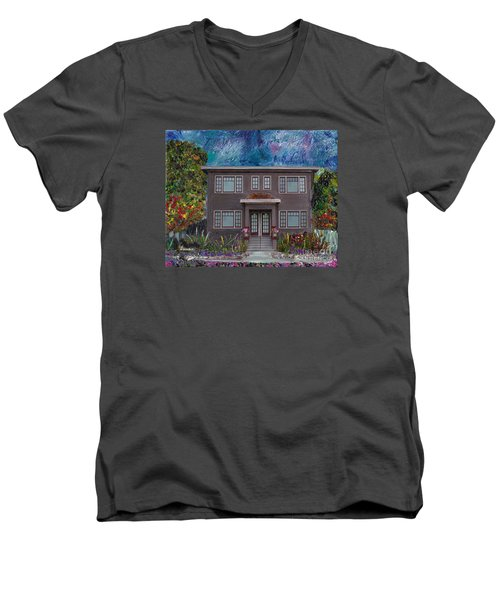 Men's V-Neck T-Shirt featuring the mixed media Alameda Bayview 1926 - Colonial Revival by Linda Weinstock