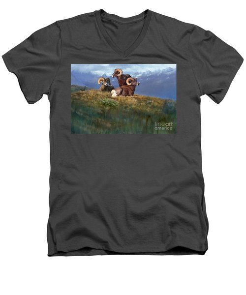 Men's V-Neck T-Shirt featuring the painting Bbbad Boy by Rob Corsetti