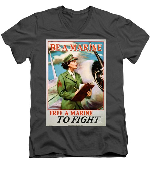 Be A Marine - Free A Marine To Fight Men's V-Neck T-Shirt