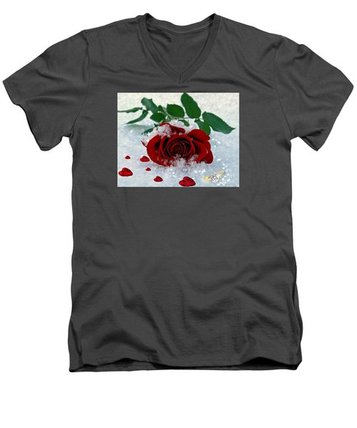 Men's V-Neck T-Shirt featuring the mixed media Be Mine by Morag Bates