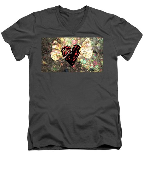 Men's V-Neck T-Shirt featuring the photograph Be My Valentine by Ally  White