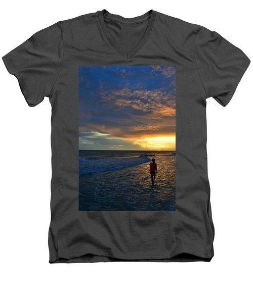 Be Wonderful... Because You Are Men's V-Neck T-Shirt by Melanie Moraga