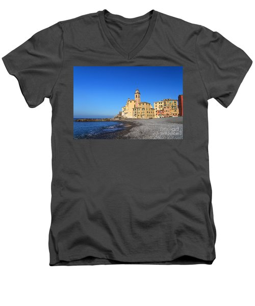 Men's V-Neck T-Shirt featuring the photograph beach and church in Camogli by Antonio Scarpi