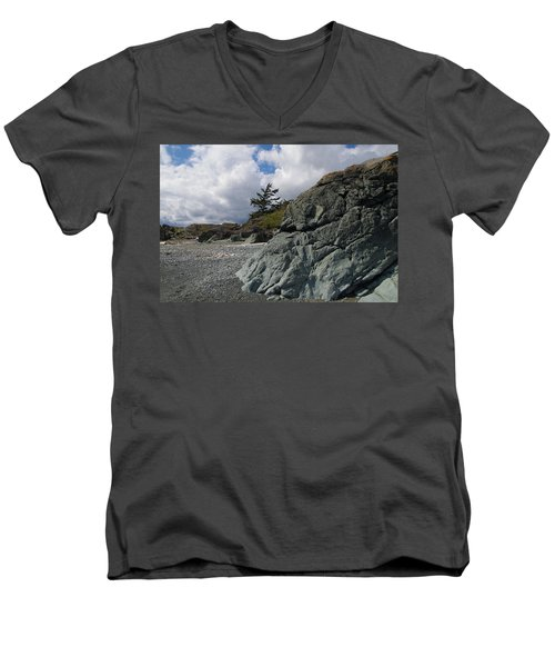 Beach At Fort Rodd Hill Men's V-Neck T-Shirt by Marilyn Wilson