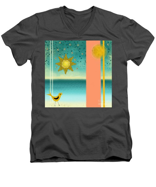 Men's V-Neck T-Shirt featuring the painting Beach Bird by Carol Jacobs