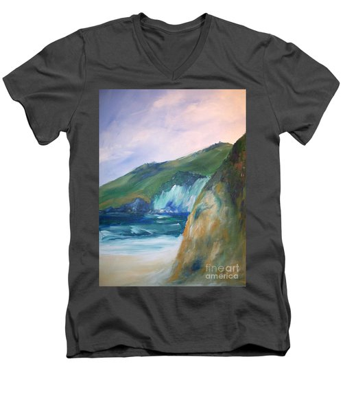 Men's V-Neck T-Shirt featuring the painting Beach California by Eric  Schiabor