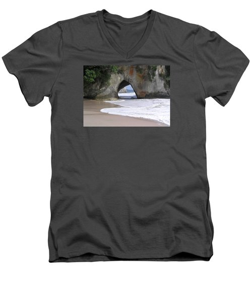 Men's V-Neck T-Shirt featuring the photograph Beach Cave by Dreamland Media
