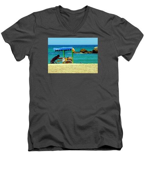 Beach Entrepreneur In San Jose Del Cabo Men's V-Neck T-Shirt by Barbie Corbett-Newmin
