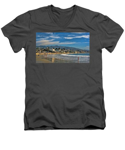 Men's V-Neck T-Shirt featuring the photograph Beach Fun by Tammy Espino