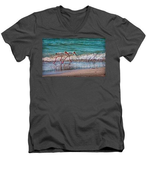 Beach Jogging In Twos Men's V-Neck T-Shirt by Hanny Heim