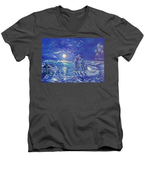 Beach Lites Men's V-Neck T-Shirt by Gail Butler