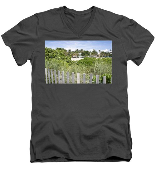 Men's V-Neck T-Shirt featuring the photograph Beach Path by Laurie Perry