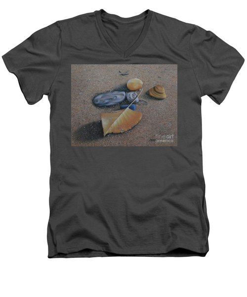 Men's V-Neck T-Shirt featuring the painting Beach Still Life IIi by Pamela Clements