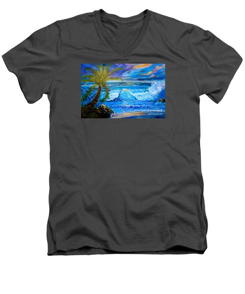 Men's V-Neck T-Shirt featuring the painting Beach Sunset In Hawaii by Jenny Lee