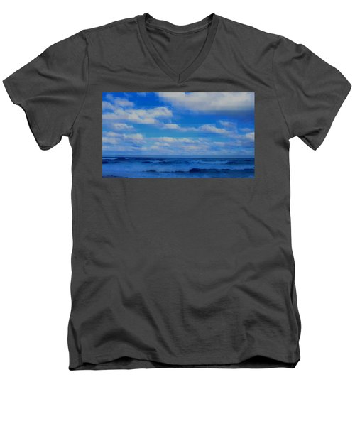 Men's V-Neck T-Shirt featuring the painting Beach Through Artificial Eyes by David Mckinney