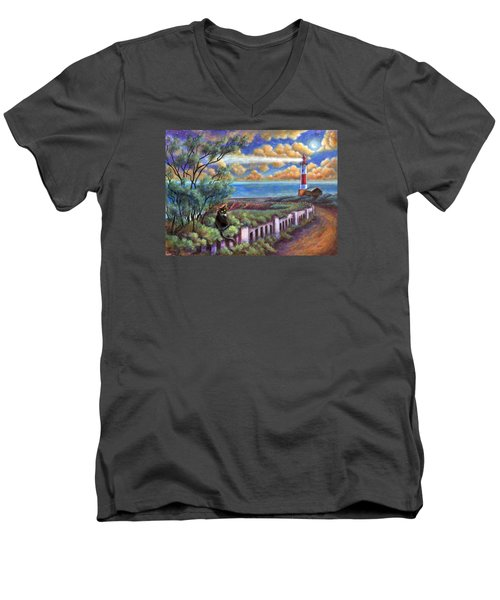 Beacons In The Moonlight Men's V-Neck T-Shirt by Retta Stephenson
