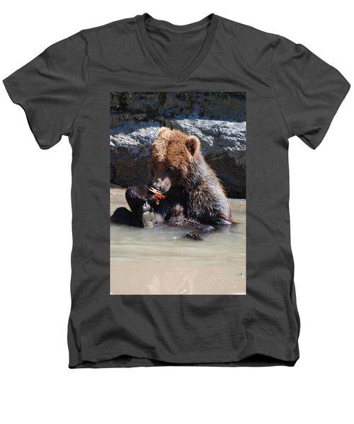 Bear Cub Men's V-Neck T-Shirt by DejaVu Designs