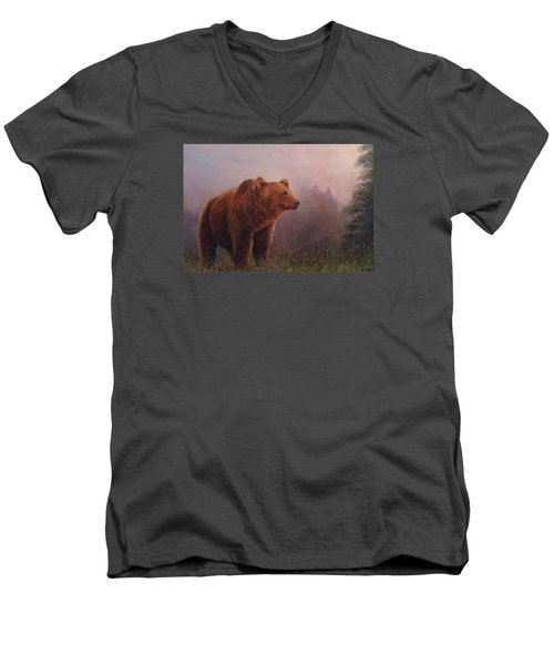 Men's V-Neck T-Shirt featuring the painting Bear In The Mist by Donna Tucker