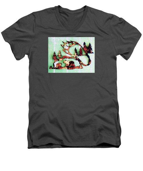 Bear Track 11 Men's V-Neck T-Shirt