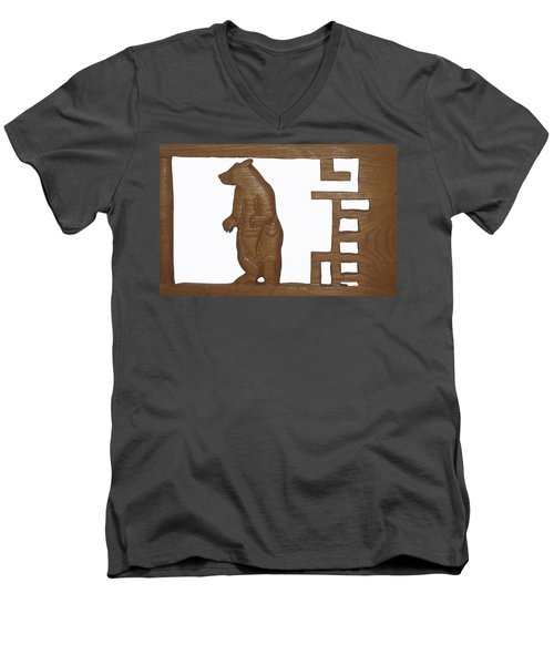 Men's V-Neck T-Shirt featuring the sculpture Bear With Me My Friend by Robert Margetts