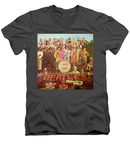 Beatles Lonely Hearts Club Band Men's V-Neck T-Shirt