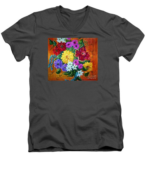 Men's V-Neck T-Shirt featuring the painting Beauties In Bloom by Eloise Schneider