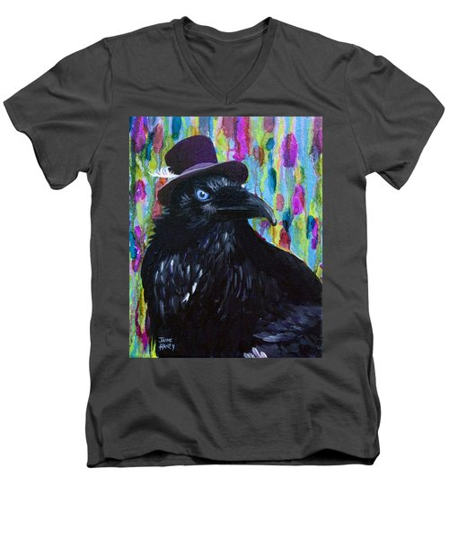 Beautiful Dreamer Black Raven Crow 8x10 Mixed Media By Jaime Haney Men's V-Neck T-Shirt