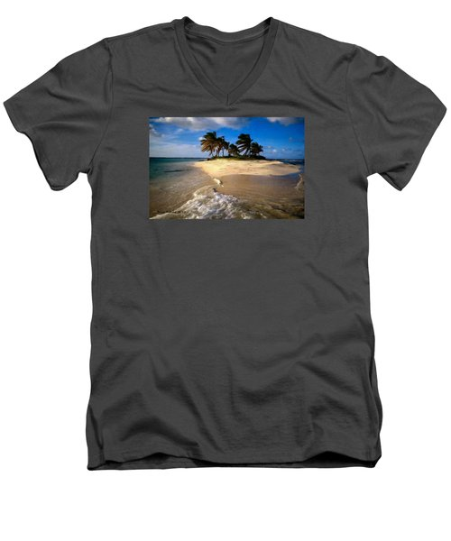 Men's V-Neck T-Shirt featuring the painting Beautiful Island by Bruce Nutting