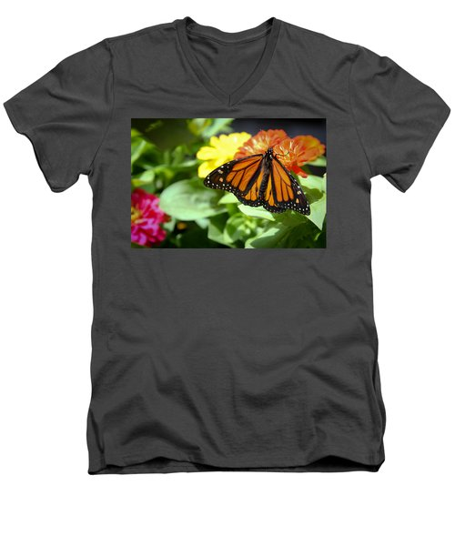 Men's V-Neck T-Shirt featuring the photograph Beautiful Monarch Butterfly by Patrice Zinck