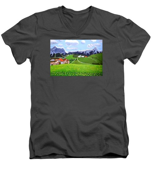 Men's V-Neck T-Shirt featuring the painting Beautiful Norway by Magdalena Frohnsdorff