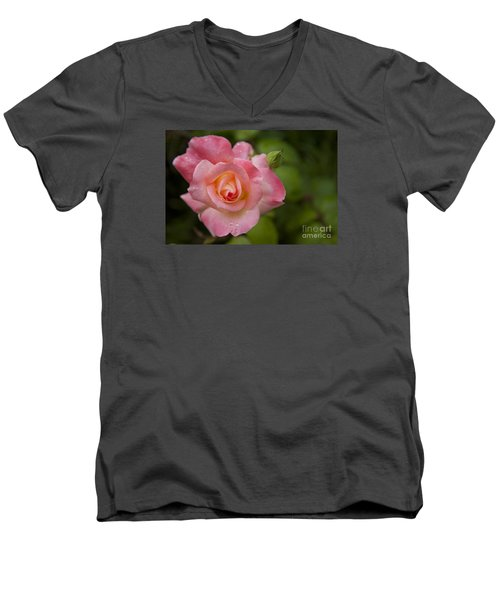 Men's V-Neck T-Shirt featuring the photograph Shades Of Pink And Green by David Millenheft