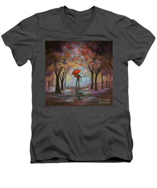 Beautiful Romance Men's V-Neck T-Shirt by Leslie Allen