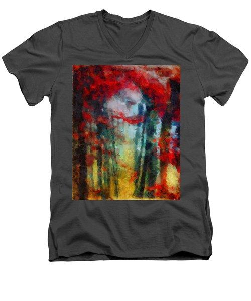 Men's V-Neck T-Shirt featuring the painting Beautiful Secrets by Joe Misrasi