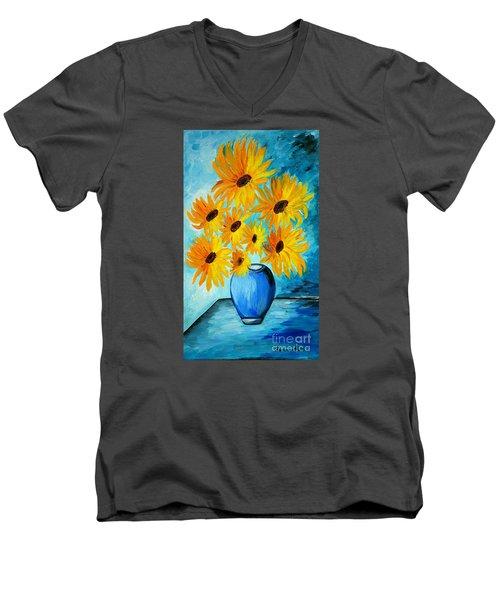 Beautiful Sunflowers In Blue Vase Men's V-Neck T-Shirt by Ramona Matei