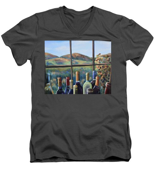 Men's V-Neck T-Shirt featuring the painting Beautiful View by Donna Tuten