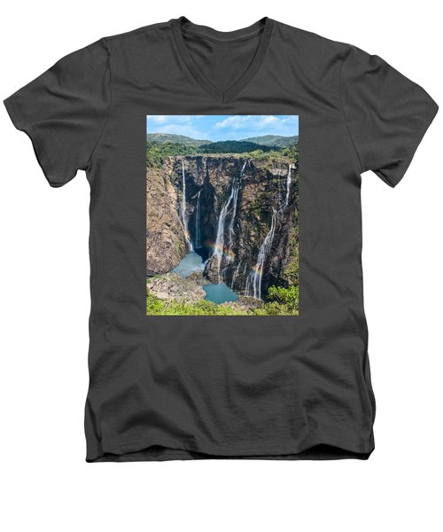 Beautiful Waterfalls In India Men's V-Neck T-Shirt